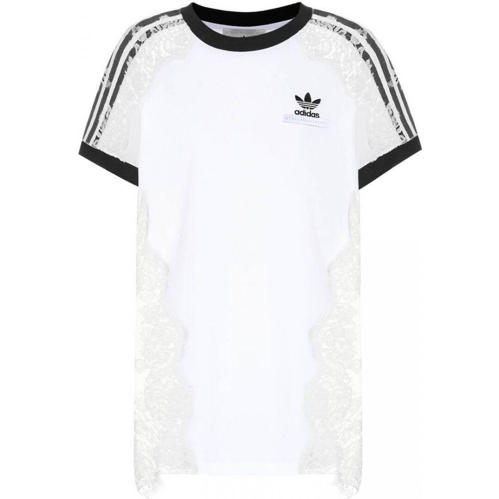 ステラ マッカートニー Stella McCartney レディース Tシャツ トップス【Printed cotton and lace T-shirt】Pure White