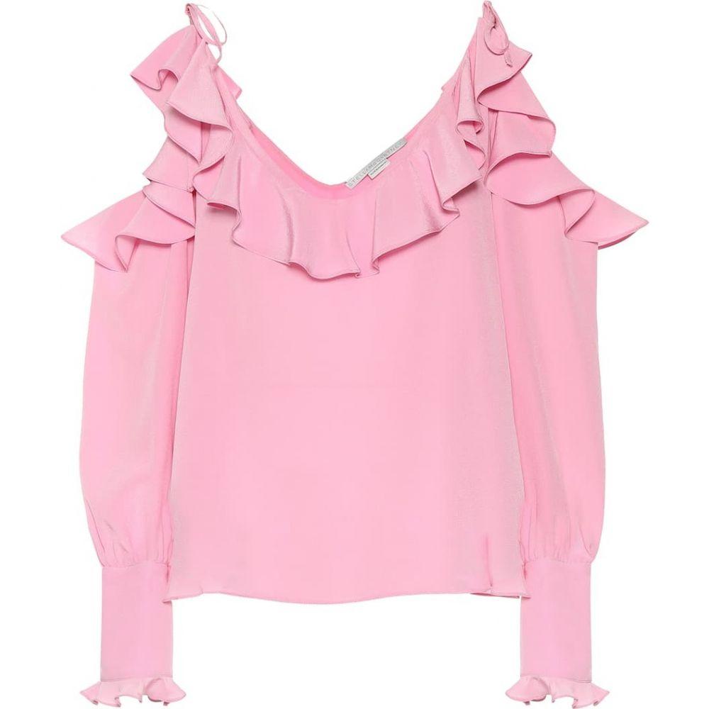 ステラ マッカートニー Stella McCartney レディース ブラウス・シャツ オフショルダー トップス【Cold-shoulder silk blouse】Pink Tulip