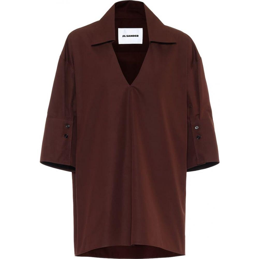 ジル サンダー Jil Sander レディース ブラウス・シャツ トップス【Cotton poplin shirt】Dark Brown