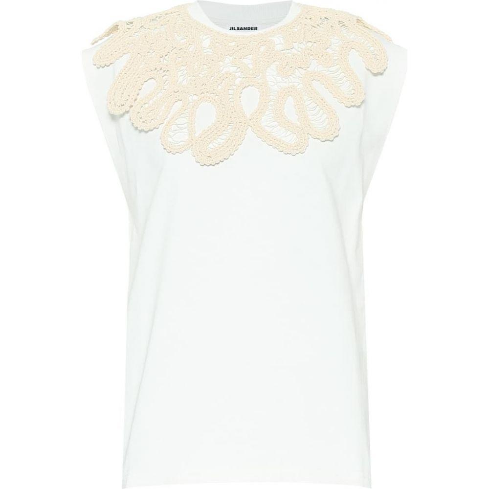 ジル サンダー Jil Sander レディース ノースリーブ トップス【Embroidered cotton T-shirt】Natural