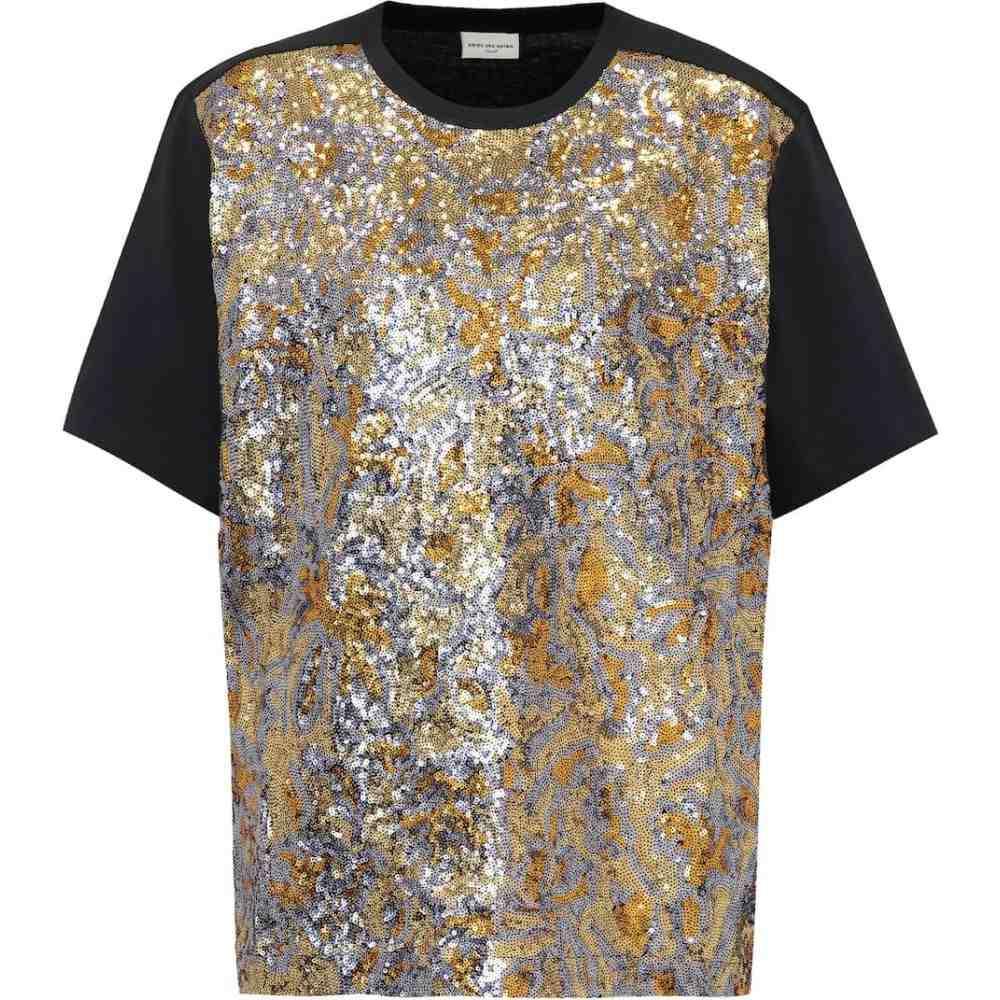 ドリス ヴァン ノッテン Dries Van Noten レディース Tシャツ トップス【Sequinned cotton T-shirt】Navy