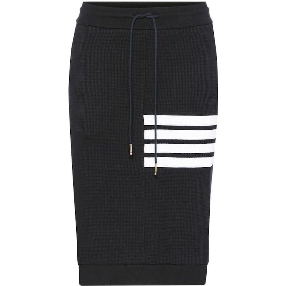 トム ブラウン Thom Browne レディース ひざ丈スカート スカート【Cotton midi skirt】Navy