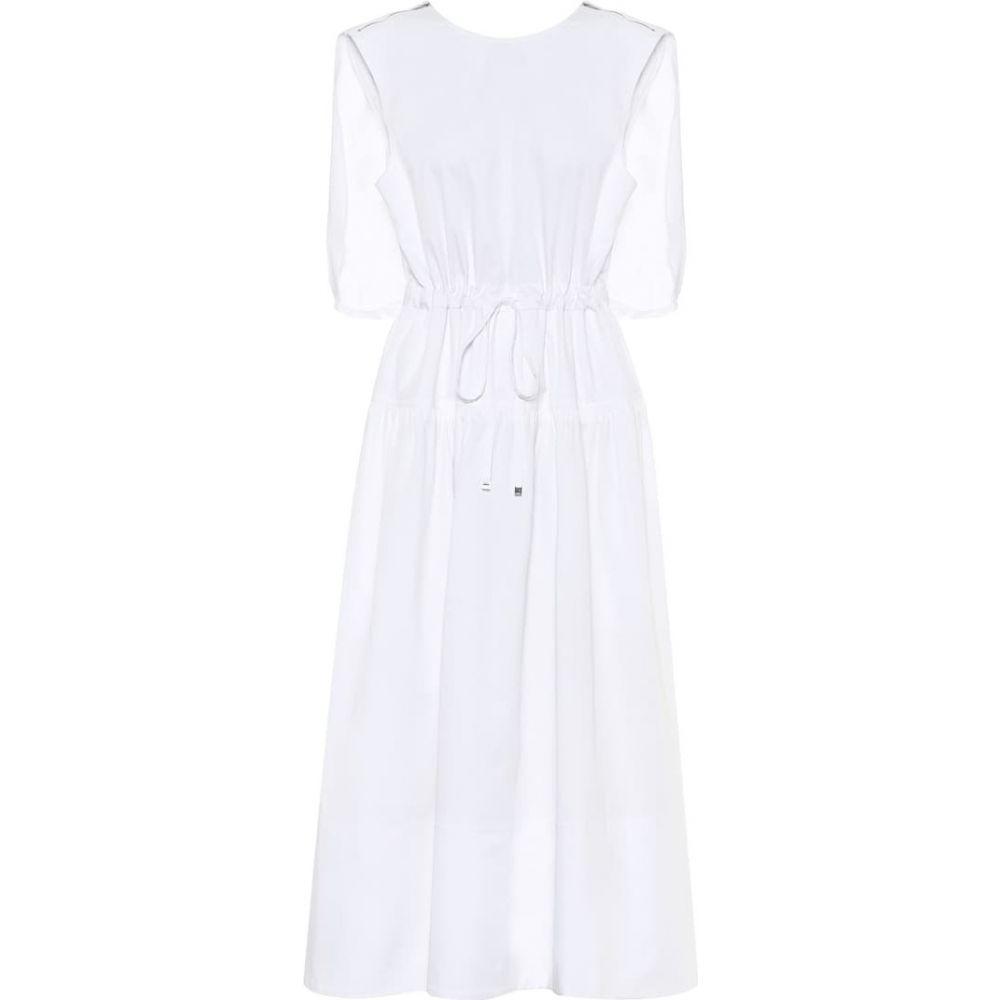 ティビ Tibi レディース ワンピース ミドル丈 ワンピース・ドレス【Organic-cotton caped midi dress】White
