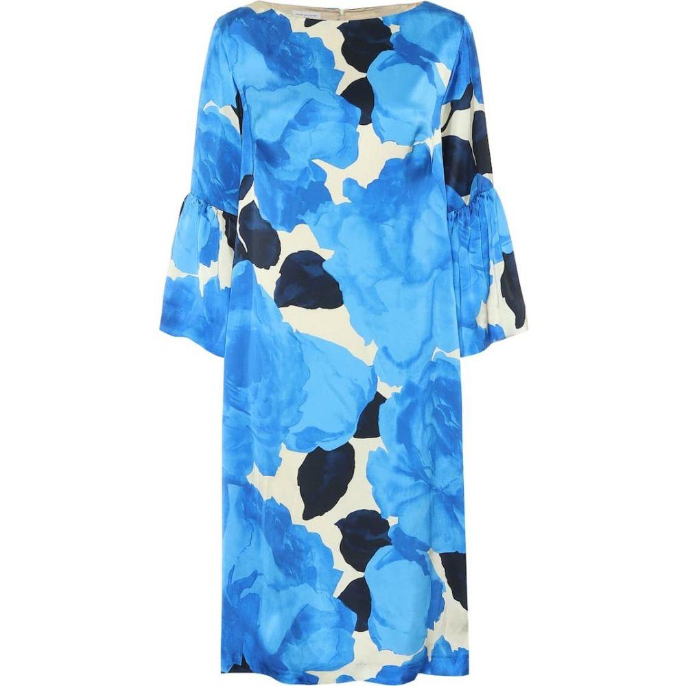 ドリス ヴァン ノッテン Dries Van Noten レディース ワンピース ワンピース・ドレス【Floral satin dress】Blue