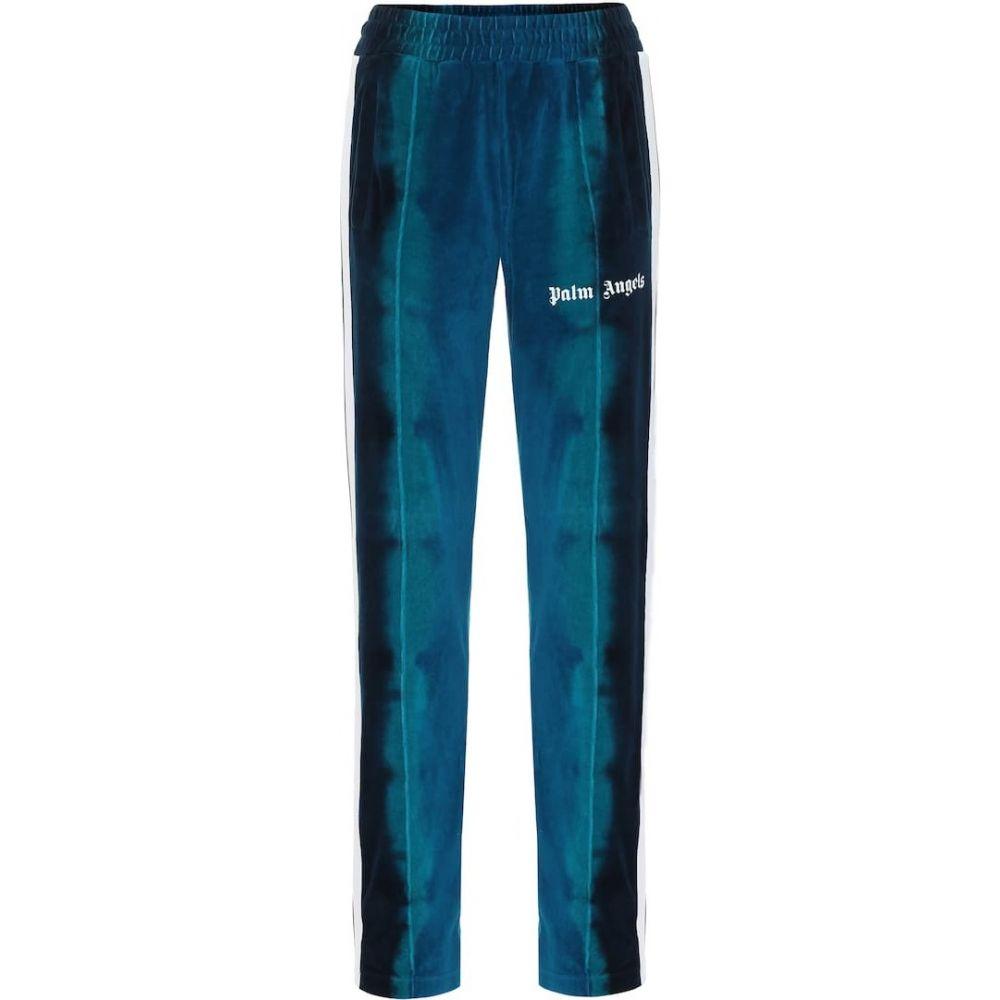 パーム エンジェルス Palm Angels レディース スウェット・ジャージ ボトムス・パンツ【Logo velour trackpants】Light Blue