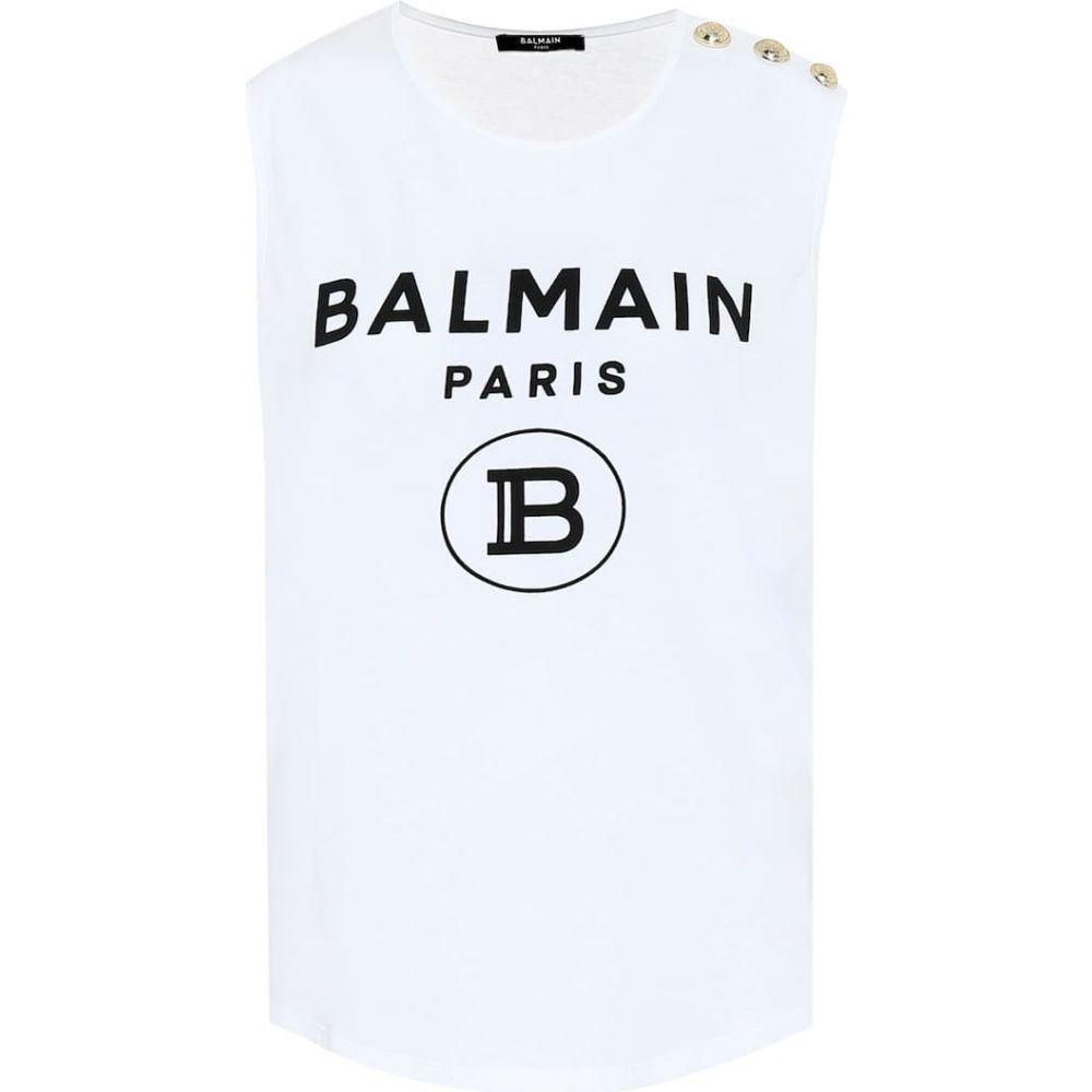 バルマン Balmain レディース ノースリーブ トップス【Logo cotton-jersey top】Blanc/Noir