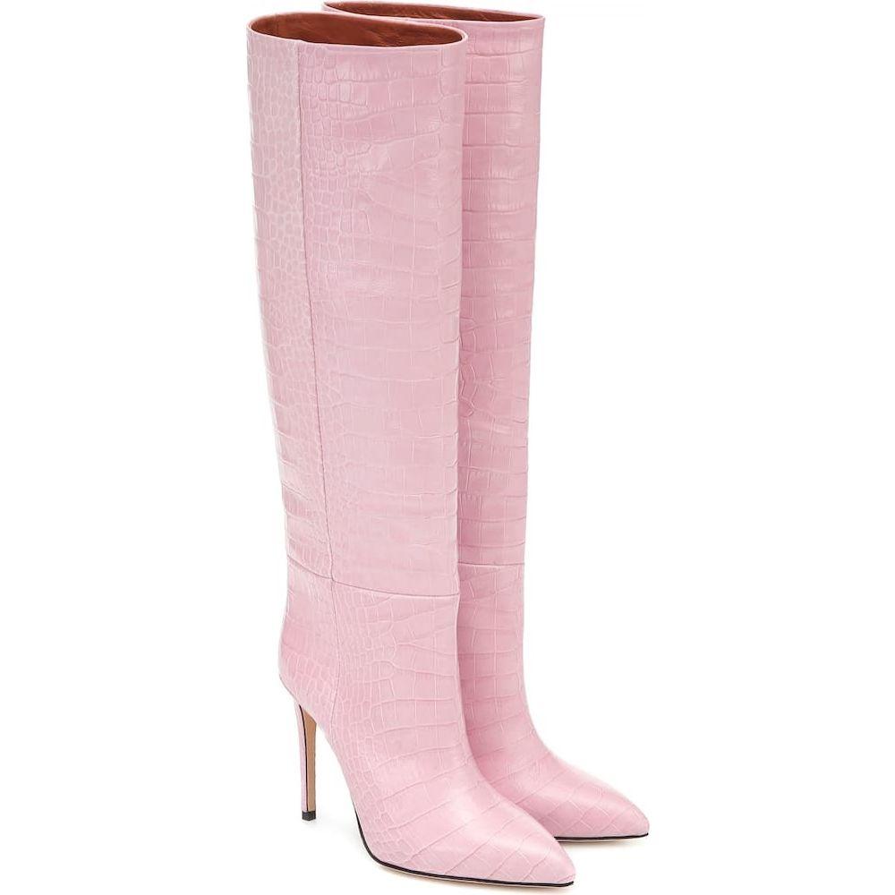 パリ テキサス Paris Texas レディース ブーツ シューズ・靴【Croc-effect leather knee-high boots】Rosa