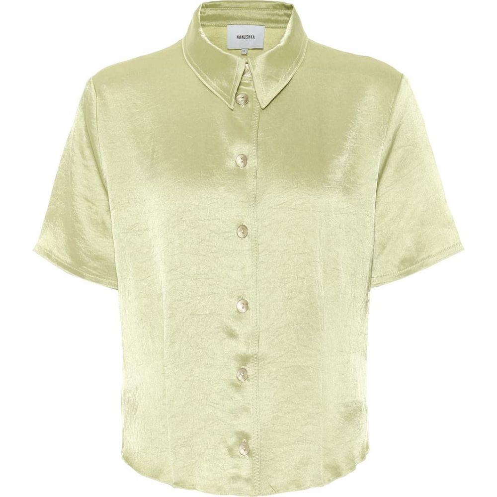 ナヌシュカ Nanushka レディース ブラウス・シャツ トップス【Clare hammered-satin shirt】Lime