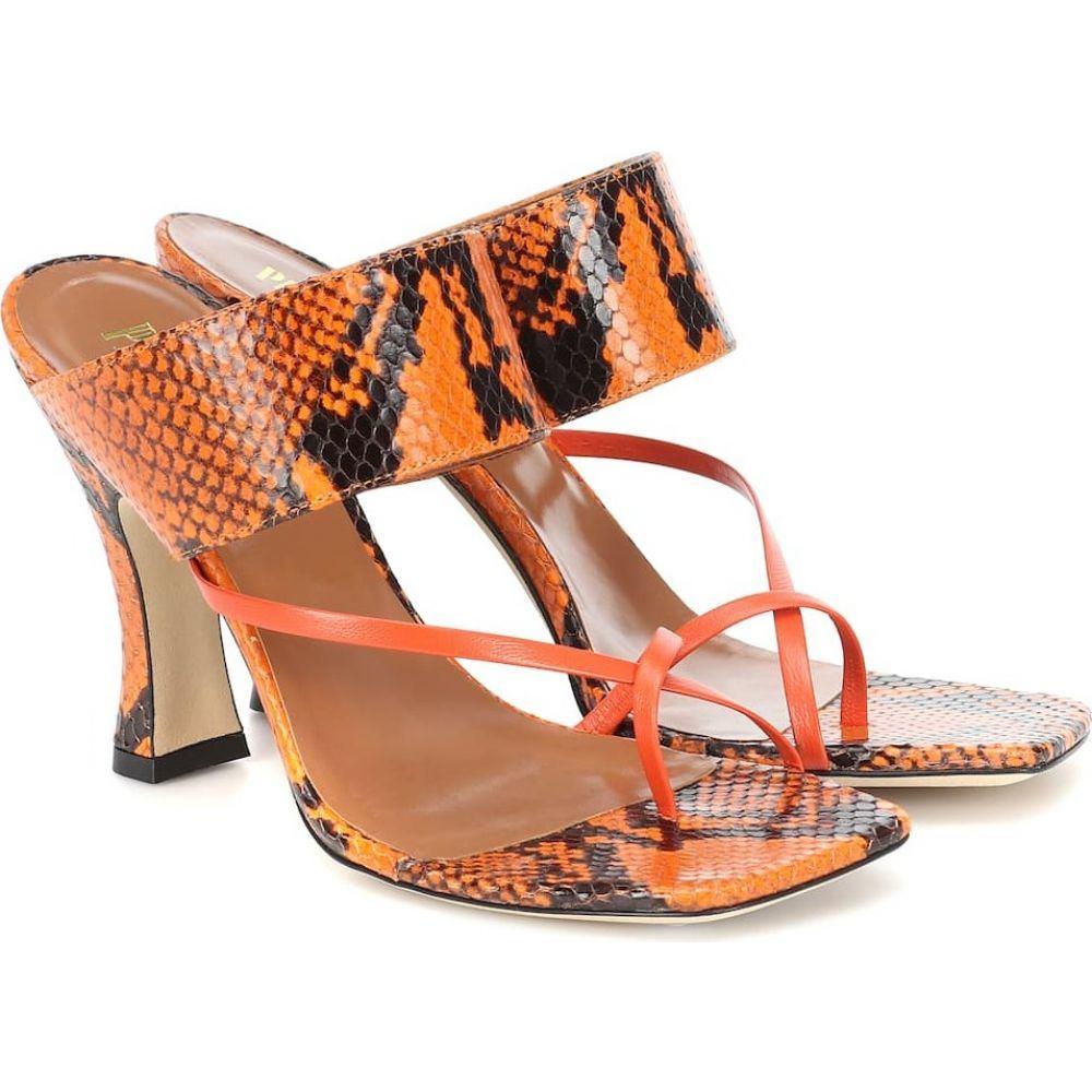 パリ テキサス Paris Texas レディース サンダル・ミュール シューズ・靴【Snake-effect-leather sandals】Arancio
