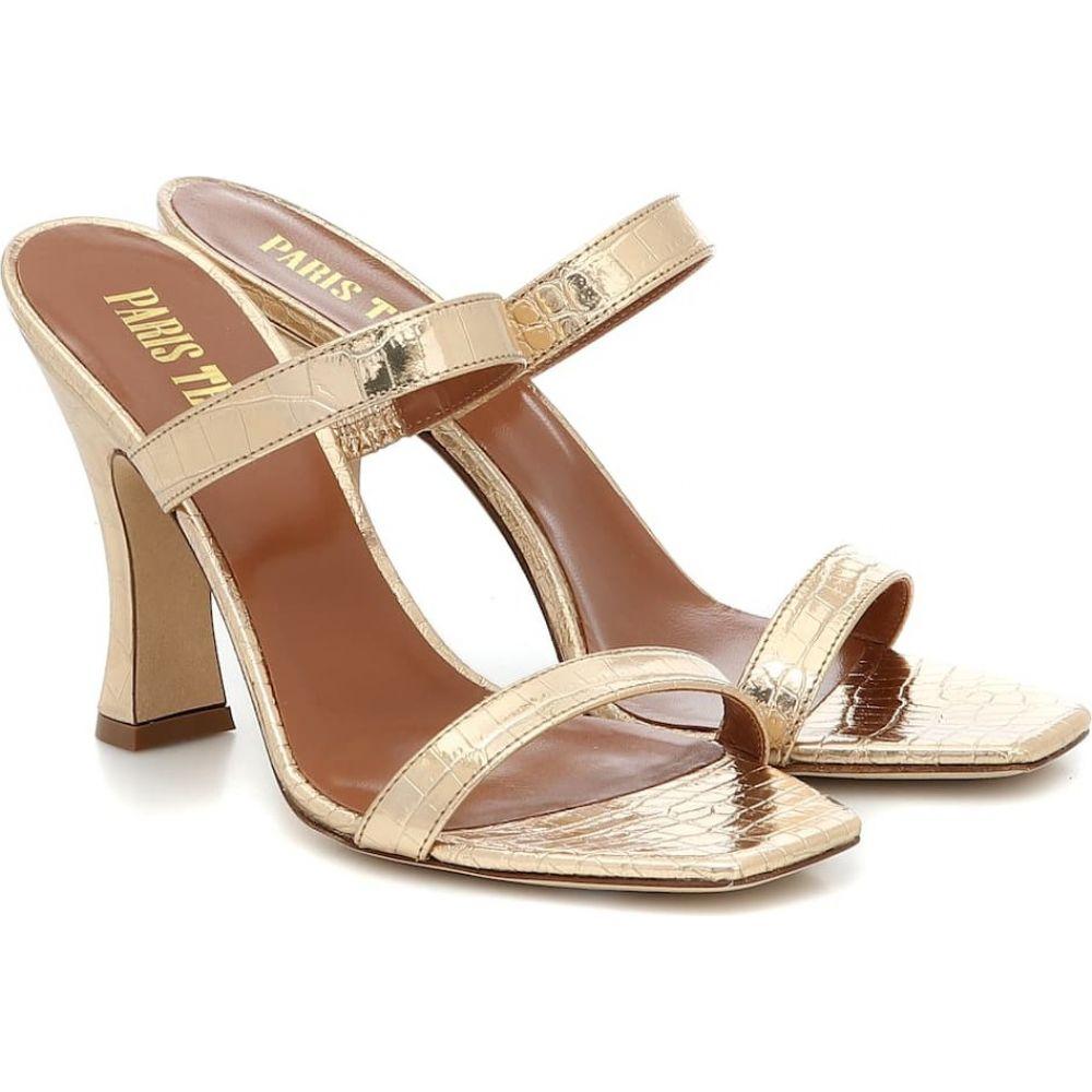 パリ テキサス Paris Texas レディース サンダル・ミュール シューズ・靴【Croc-effect metallic leather sandals】Platino