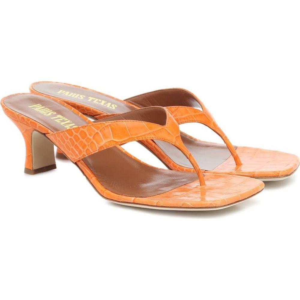 パリ テキサス Paris Texas レディース サンダル・ミュール シューズ・靴【Croc-effect leather thong sandals】Arancio