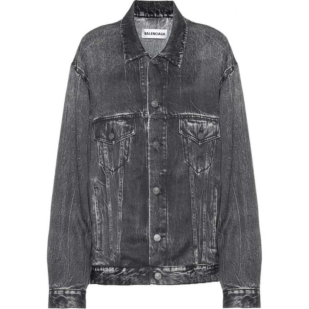バレンシアガ Balenciaga レディース ジャケット アウター【Trompe L'Oeil printed satin jacket】Streakyblack
