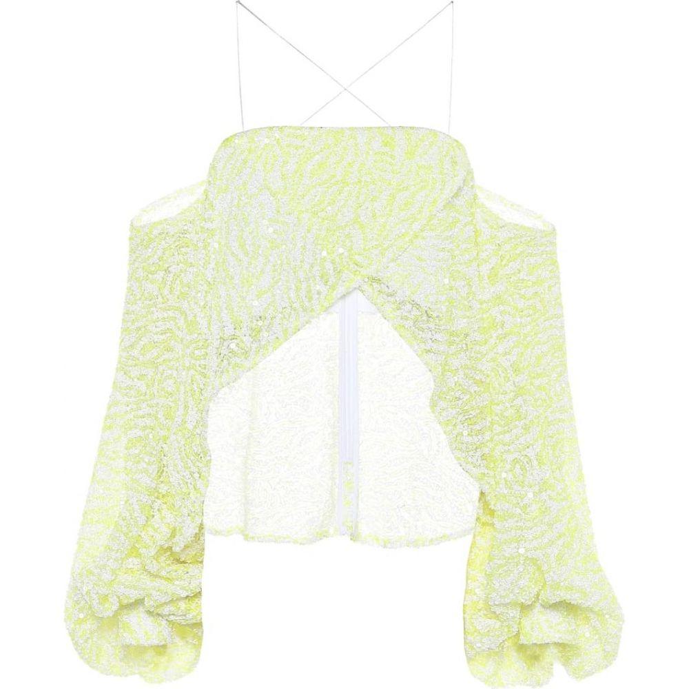 ハルパーン Halpern レディース オフショルダー トップス【Sequined off-shoulder cropped blouse】Yellow White