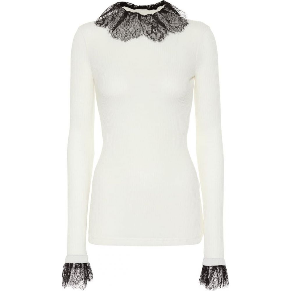 フィロソフィ ディ ロレンツォ セラフィニ Philosophy Di Lorenzo Serafini レディース ニット・セーター トップス【Lace-trimmed wool-blend sweater】Fantasy Print Ivory