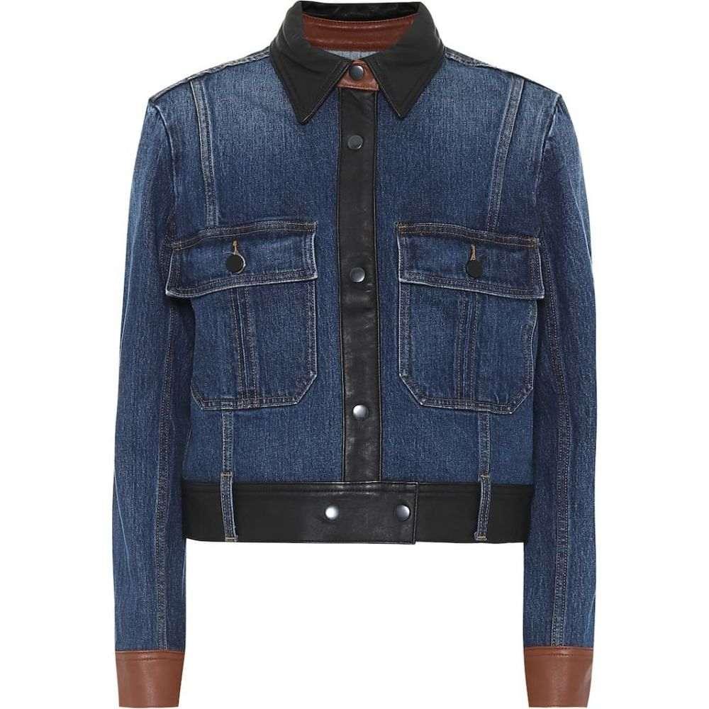 フレーム Frame レディース ジャケット Gジャン アウター【Leather-trimmed denim jacket】Flynn