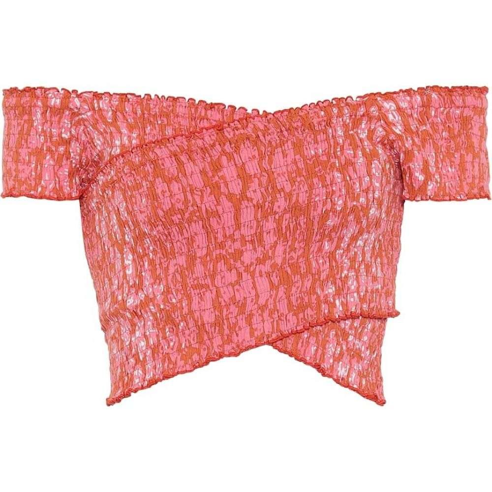 プーペット セント バース Poupette St Barth レディース オフショルダー トップス【Triny off-shoulder printed crop top】Orange Egypt