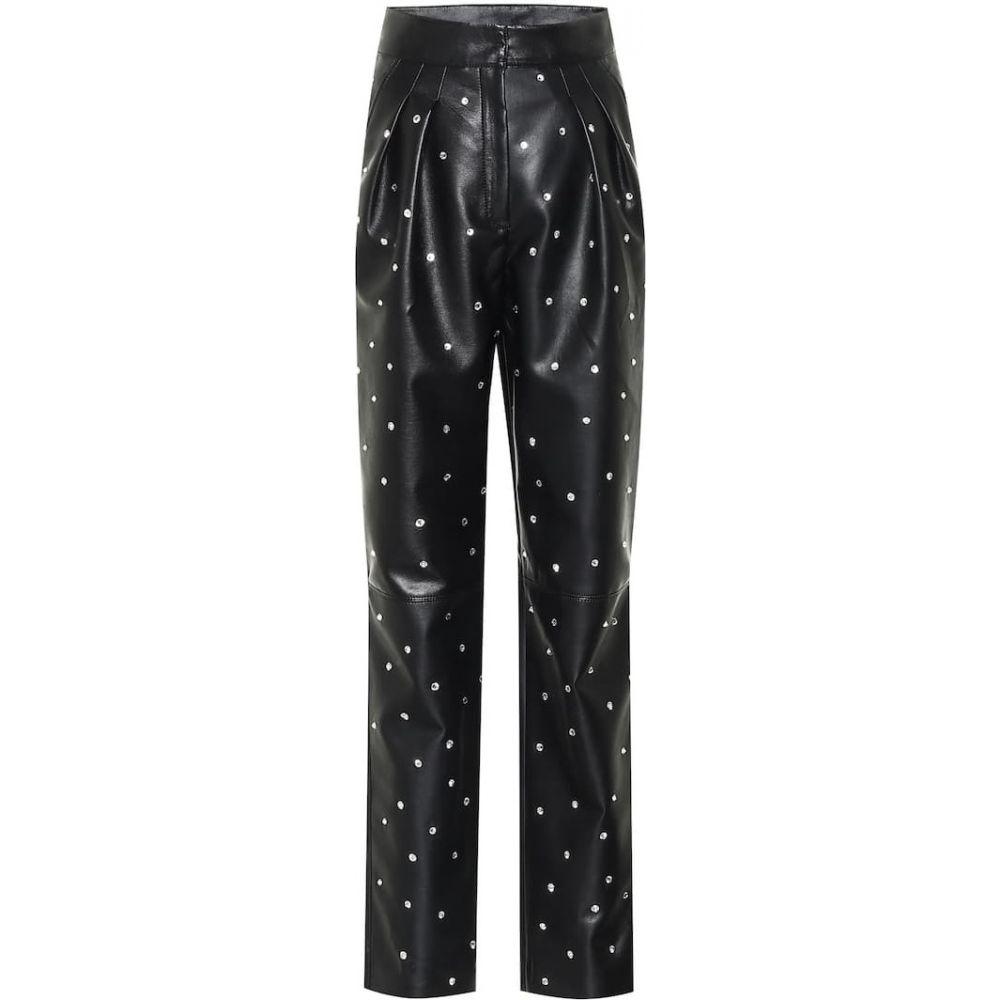 フィロソフィ ディ ロレンツォ セラフィニ Philosophy Di Lorenzo Serafini レディース ボトムス・パンツ 【Crystal-embellished faux-leather pants】Black