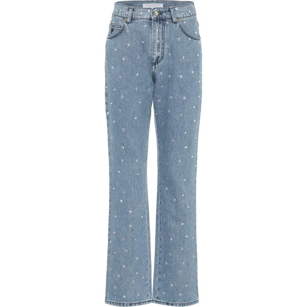 フィロソフィ ディ ロレンツォ セラフィニ Philosophy Di Lorenzo Serafini レディース ジーンズ・デニム ボトムス・パンツ【Embellished high-rise jeans】Blue