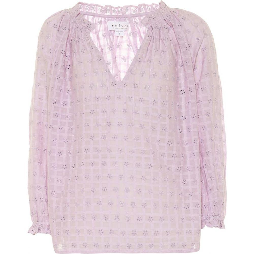 ベルベット グラハム&スペンサー Velvet レディース ブラウス・シャツ トップス【Matilda cotton eyelet blouse】Lavender
