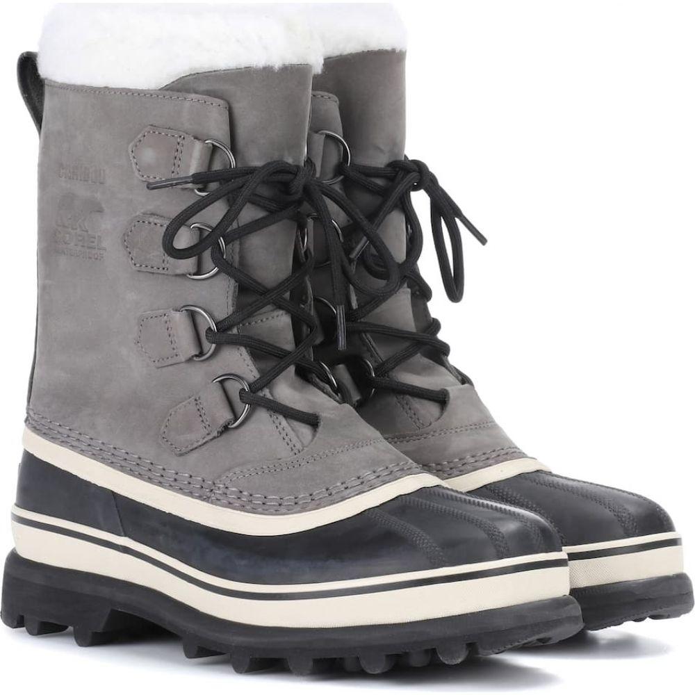 ソレル Sorel レディース ブーツ シューズ・靴【caribou leather and rubber boots】Shale/Stone