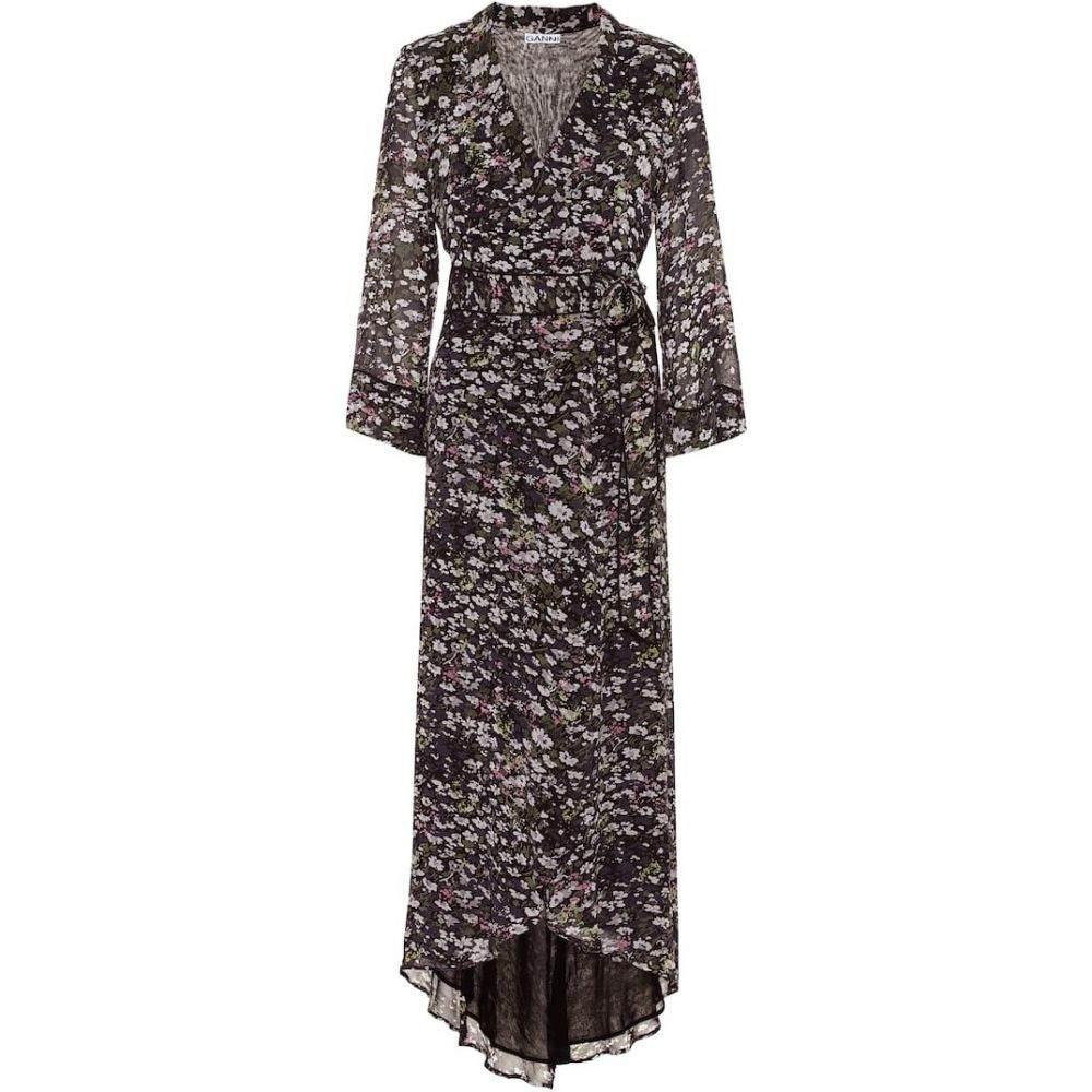 ガニー Ganni レディース ワンピース ラップドレス マキシ丈 ワンピース・ドレス【floral georgette maxi wrap dress】Black