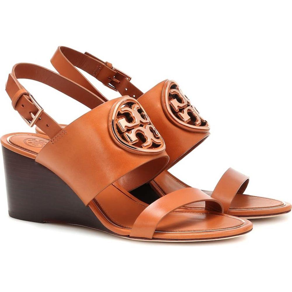 トリー バーチ Tory Burch レディース サンダル・ミュール ウェッジソール シューズ・靴【miller leather wedge sandals】Tan/Rose Gold