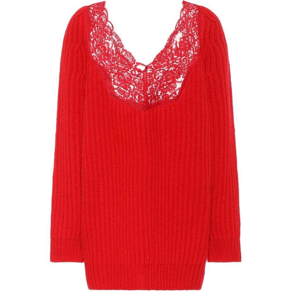 バレンシアガ Balenciaga レディース ニット・セーター トップス【lace-trimmed wool sweater】Red