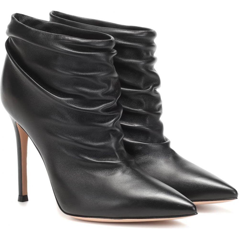 ジャンヴィト ロッシ Gianvito Rossi レディース ブーツ ショートブーツ シューズ・靴【ruched 105 leather ankle boots】black