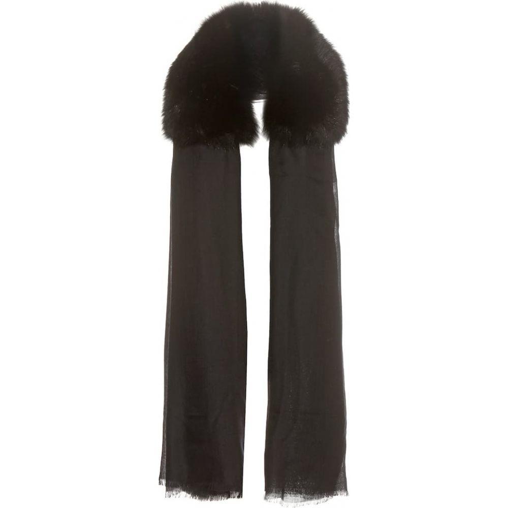 ヴァレンティノ Valentino レディース マフラー・スカーフ・ストール 【cashmere and fur scarf】Nero