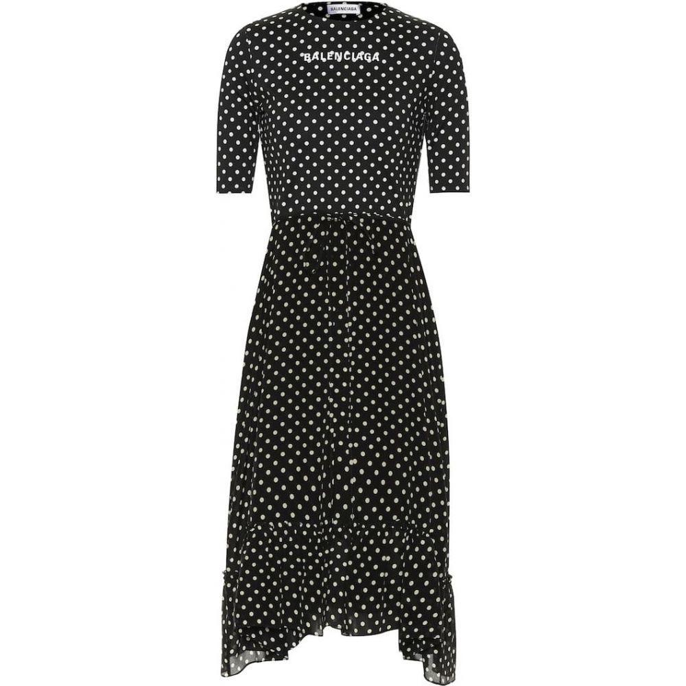 バレンシアガ Balenciaga レディース ワンピース ミドル丈 ワンピース・ドレス【crepe polka-dot midi dress】Black/White