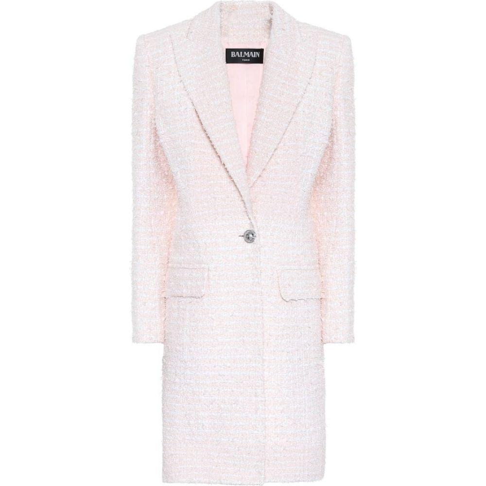バルマン Balmain レディース コート アウター【single-breasted tweed coat】Rose pale/Blanc