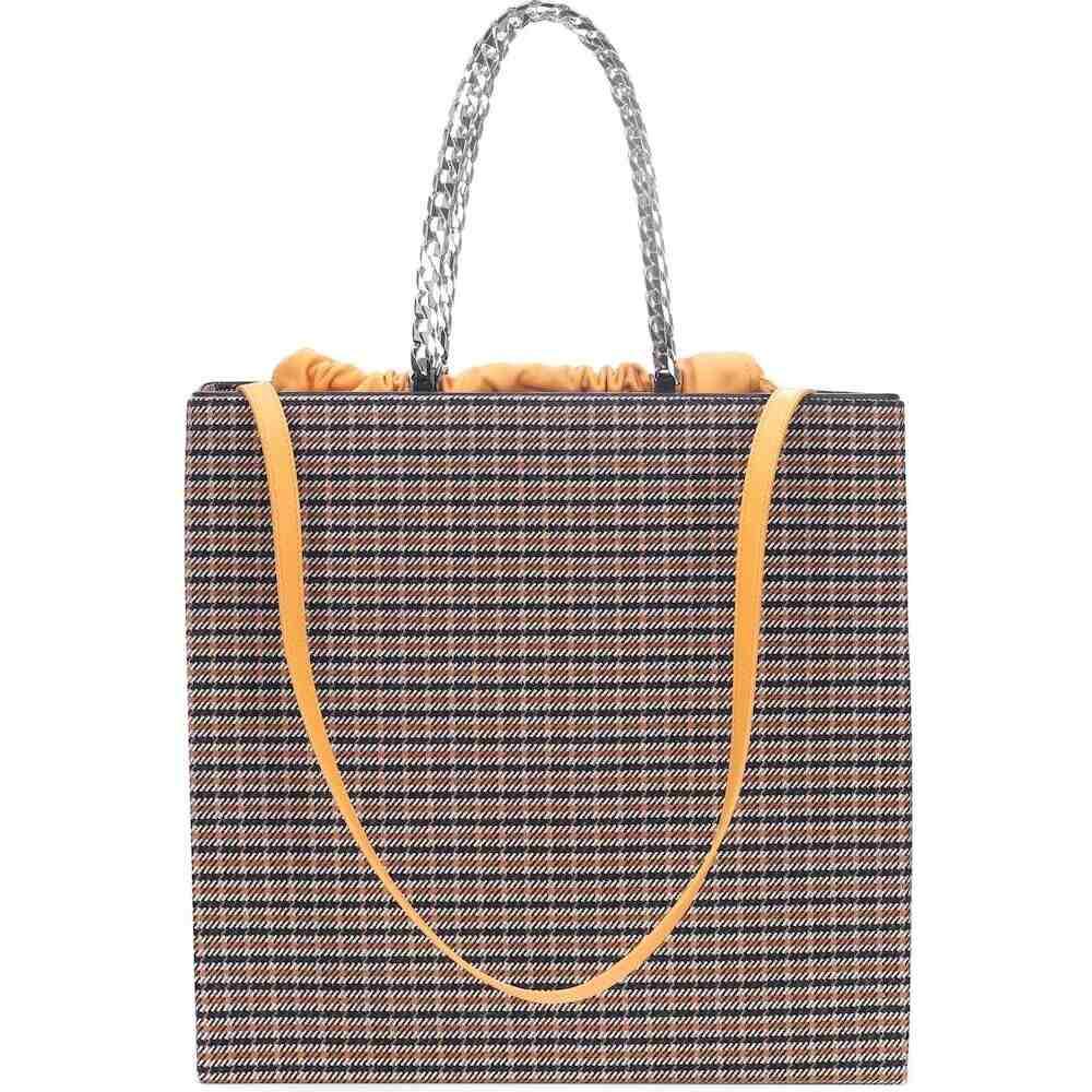 ヴィクトリア ベッカム Victoria Beckham レディース トートバッグ バッグ【checked leather-trimmed tote】Black Orange