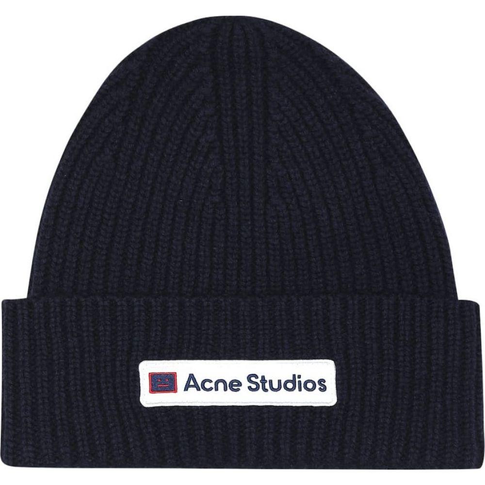 アクネ ストゥディオズ Acne Studios レディース ニット ビーニー 帽子【kansa face wool beanie】Navy