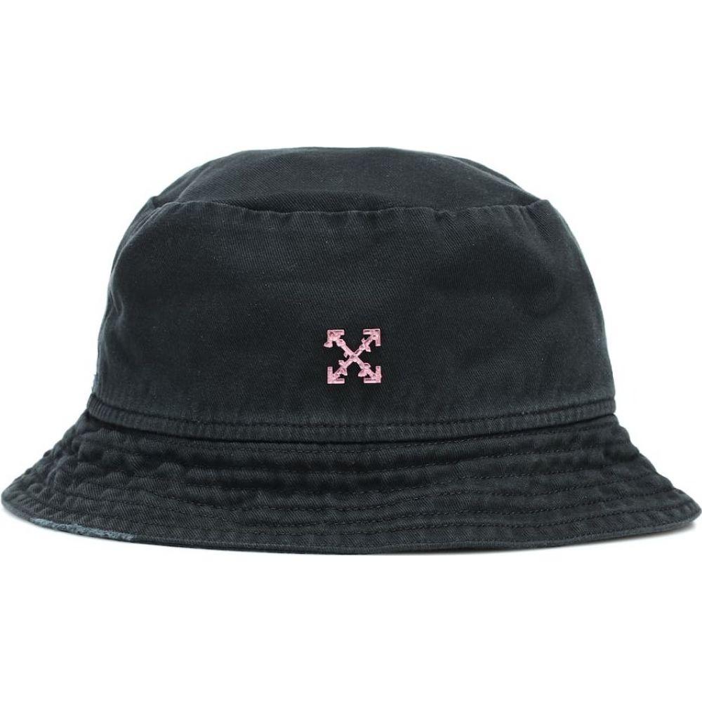 オフホワイト Off-White レディース ハット バケットハット 帽子【logo cotton twill bucket hat】Black Fuchsia