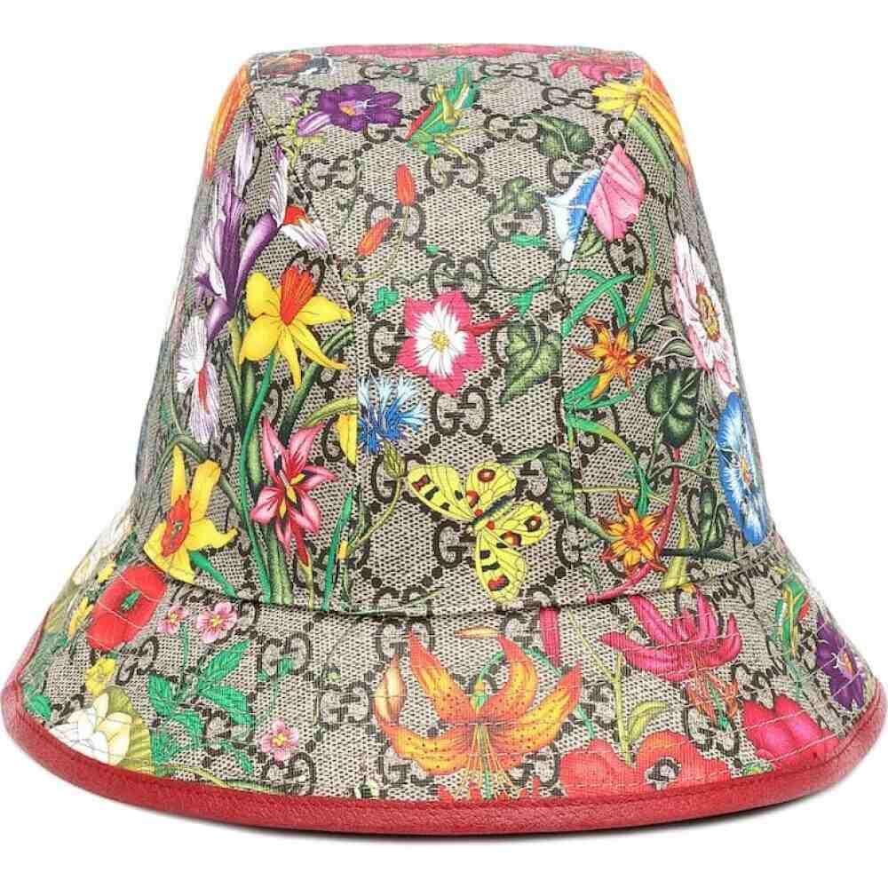 グッチ Gucci レディース ハット バケットハット 帽子【gg flora cotton-blend bucket hat】Beige Multi/Red