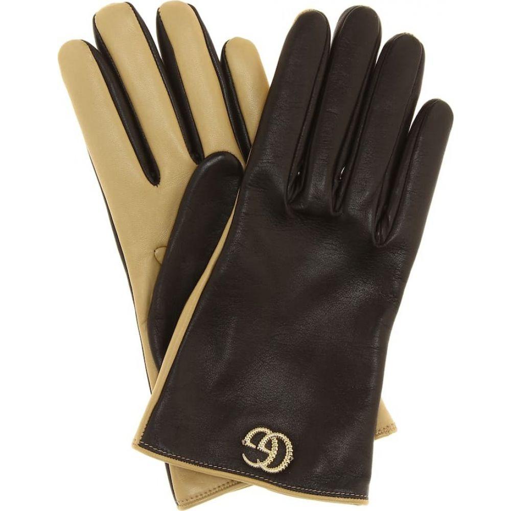 グッチ Gucci レディース 手袋・グローブ 【leather gloves】Nero/Brown