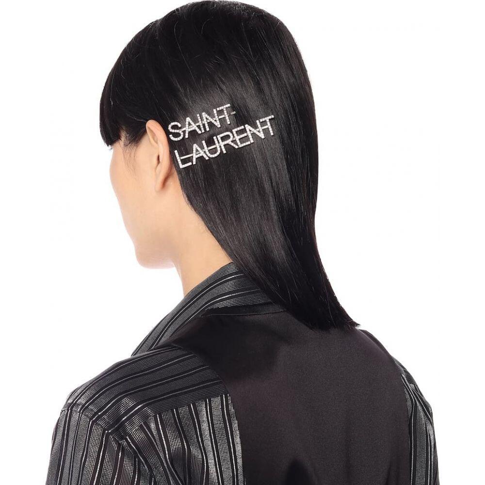 イヴ サンローラン Saint Laurent レディース ヘアアクセサリーcrystal embellished hair clipsm8NwOvn0