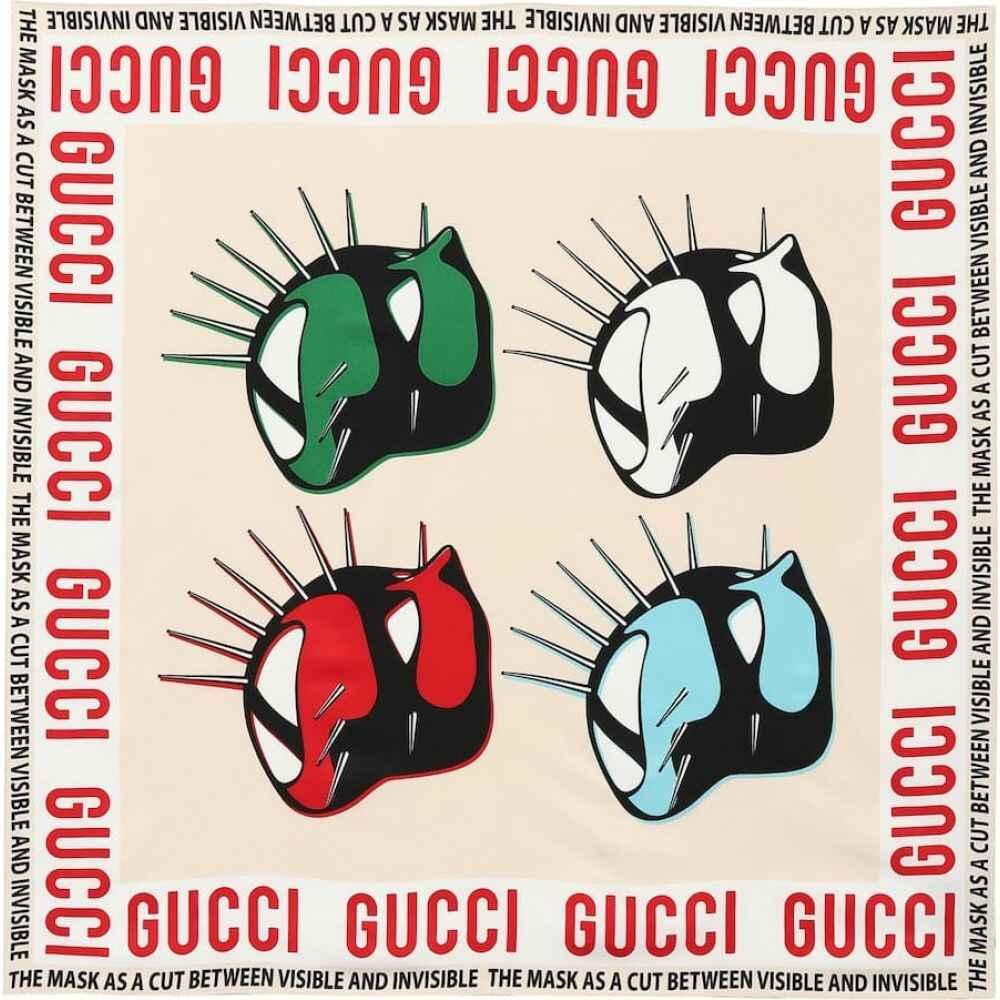 グッチ Gucci レディース マフラー・スカーフ・ストール 【printed silk-twill scarf】Ivory/Multicolour