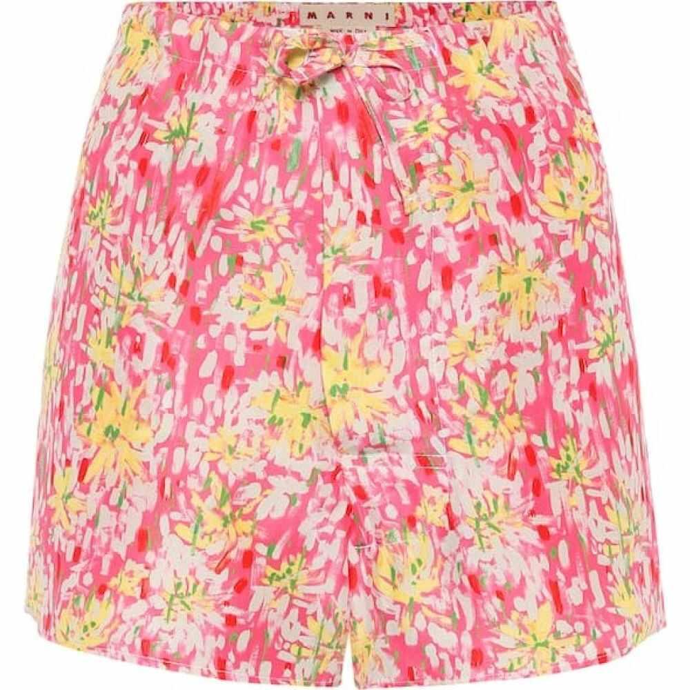 マルニ Marni レディース ショートパンツ ボトムス・パンツ【floral silk-crepe shorts】Pink Clematis