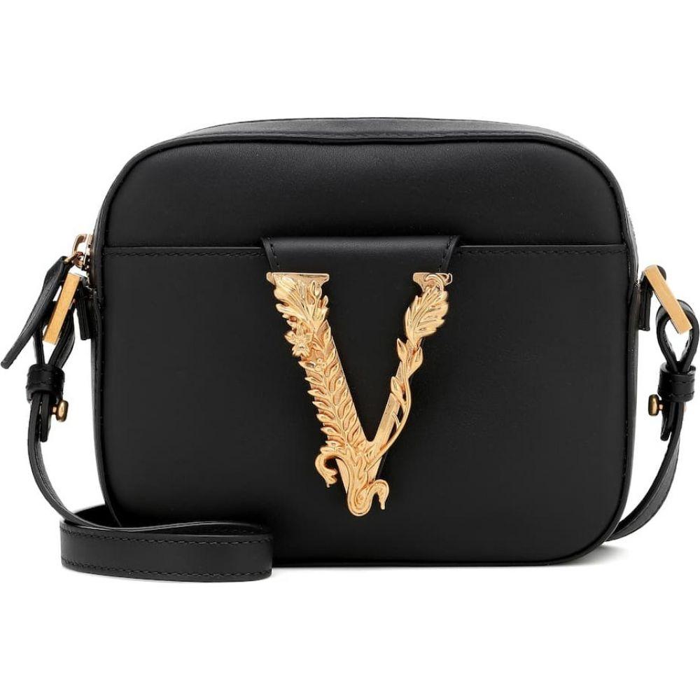 ヴェルサーチ Versace レディース ショルダーバッグ バッグ【virtus leather crossbody bag】Nero Oro