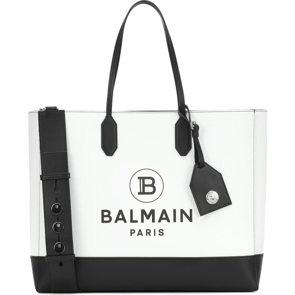バルマン Balmain レディース トートバッグ バッグ【logo medium leather tote】Gab Blanc/Noir
