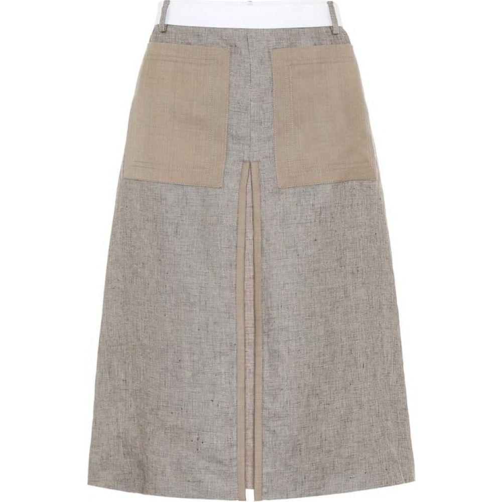 バーバリー Burberry レディース ひざ丈スカート スカート【linen midi skirt】Cedar Brown Melange