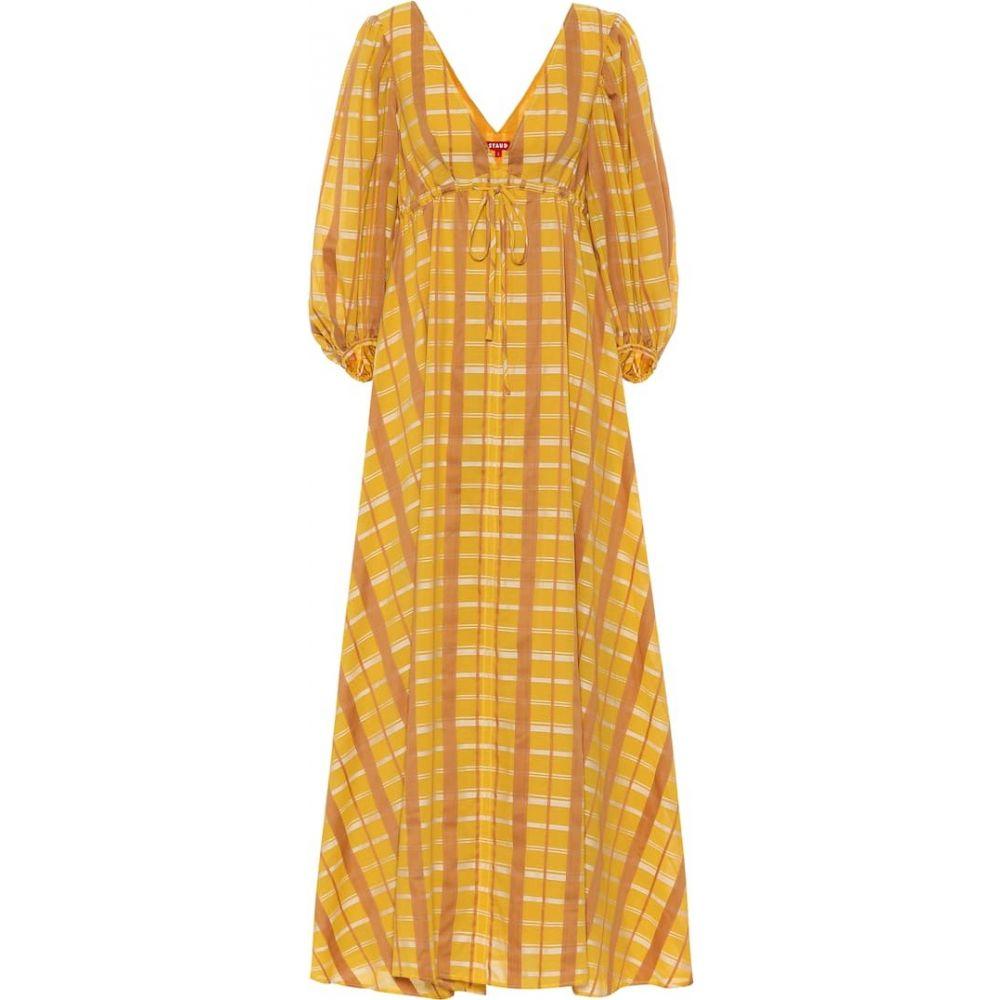 スタウド Staud レディース ワンピース マキシ丈 ワンピース・ドレス【amaretti cotton-blend maxi dress】Mustard Plaid