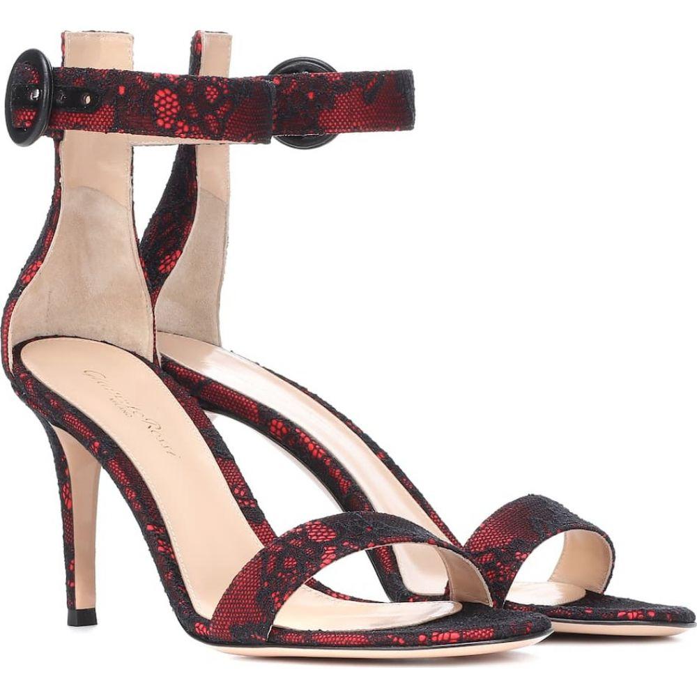 ジャンヴィト ロッシ Gianvito Rossi レディース サンダル・ミュール シューズ・靴【portofino 85 lace and satin sandals】Tabasco Red