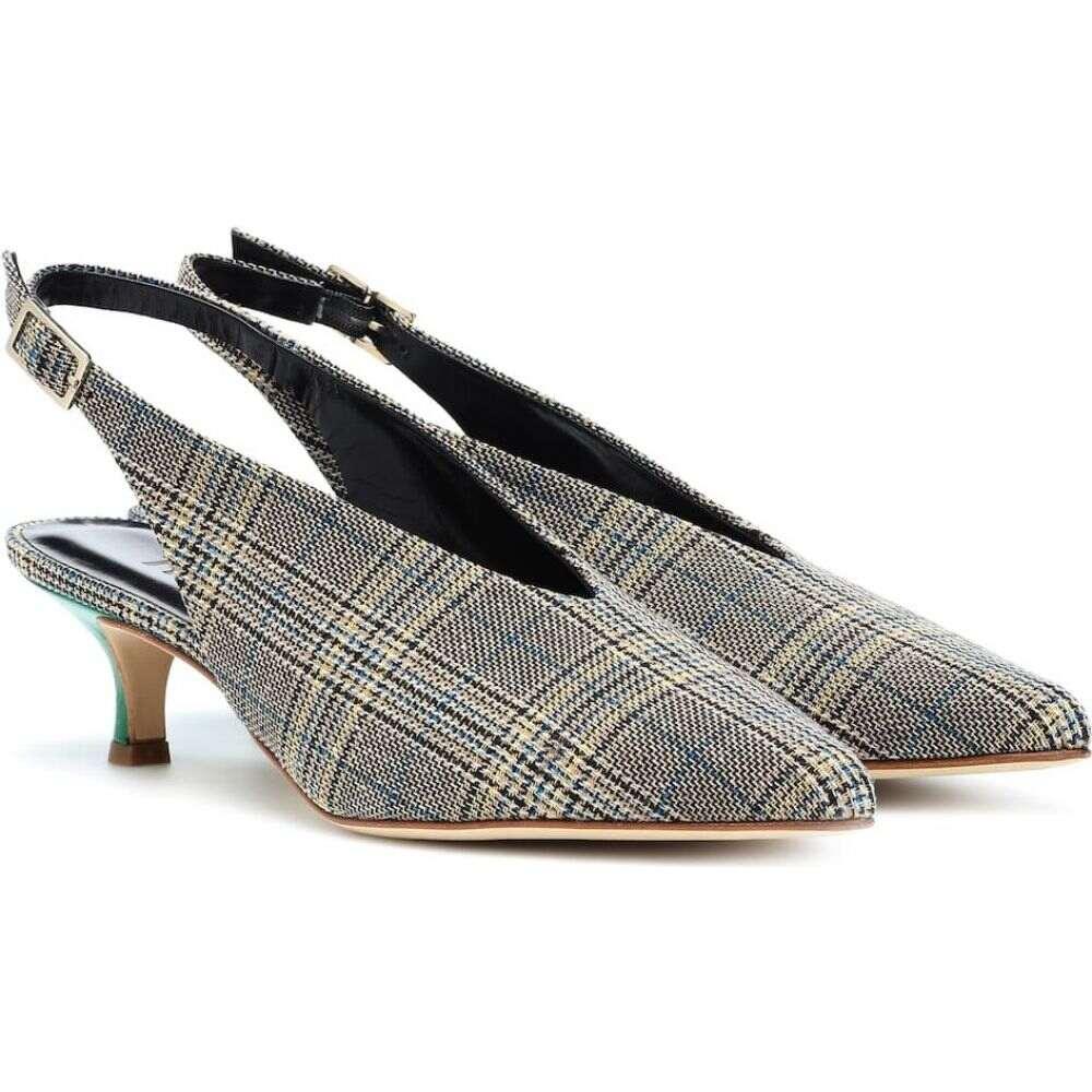 ティビ Tibi レディース パンプス シューズ・靴【lia plaid kitten-heel pumps】Tan/Blue Plain/Kelly Green