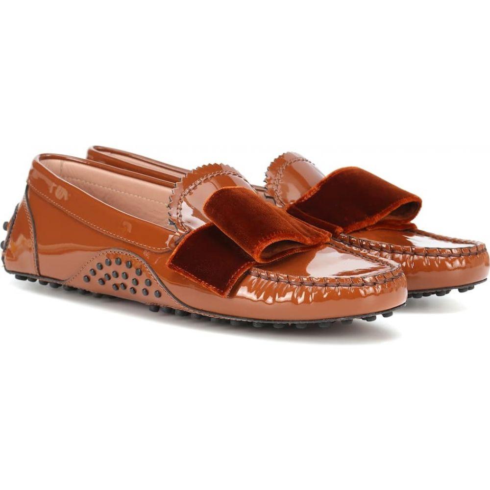 トッズ Tod's レディース ローファー・オックスフォード シューズ・靴【x alessandro dell'acqua patent leather loafers】Caramello Scuro