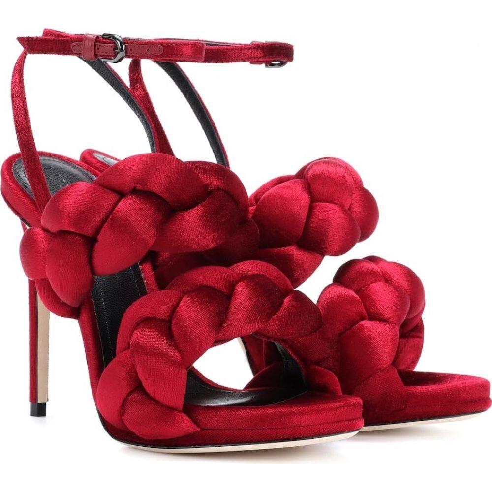 マルコデヴィンチェンツオ Marco De Vincenzo レディース サンダル・ミュール シューズ・靴【braided velvet sandals】Ruby Red