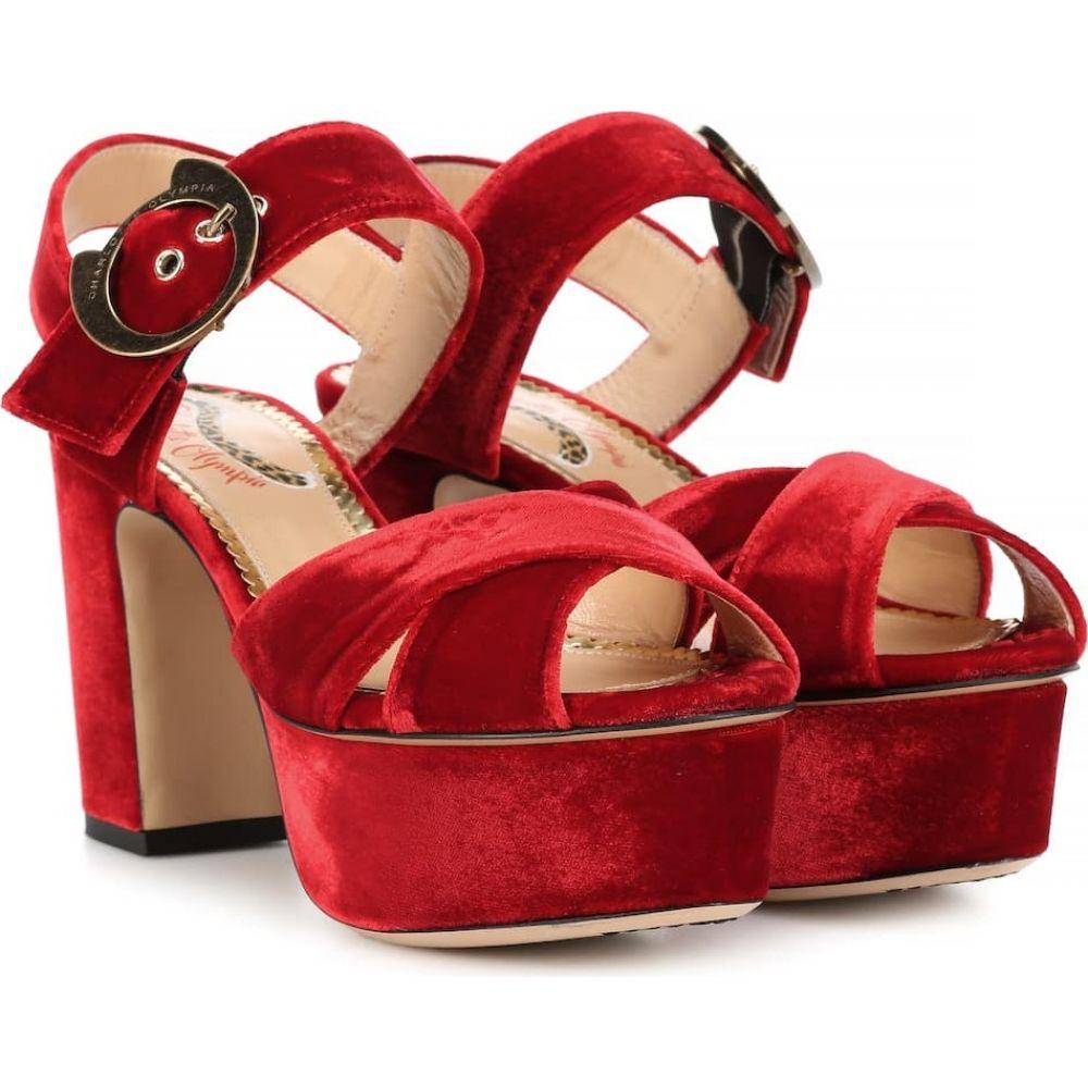 シャーロット オリンピア Charlotte Olympia レディース サンダル・ミュール シューズ・靴【aristocat 90 velvet plateau sandals】Rose Red