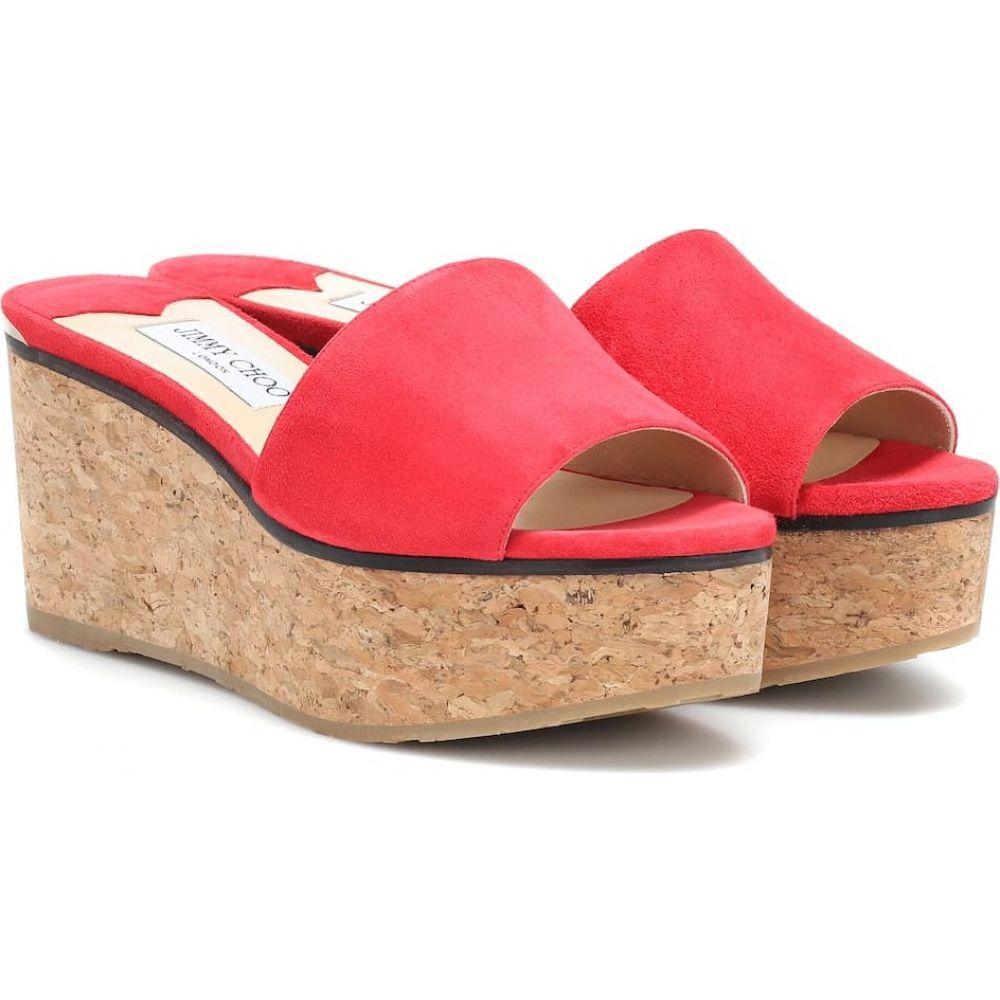 ジミー チュウ Jimmy Choo レディース サンダル・ミュール ウェッジソール シューズ・靴【deedee 80 suede wedge sandals】red