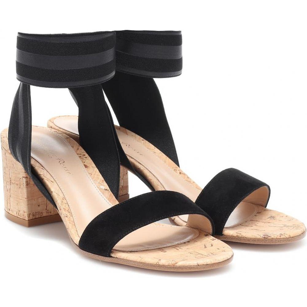 ジャンヴィト ロッシ Gianvito Rossi レディース サンダル・ミュール シューズ・靴【suede sandals】black black cork